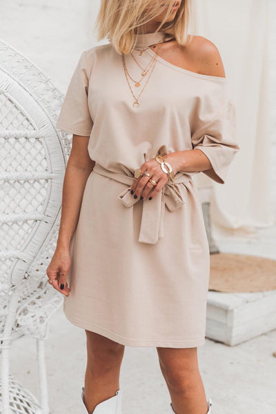 One Shoulder Summer Wrap Dress in Beige colour - jqwholesale.com