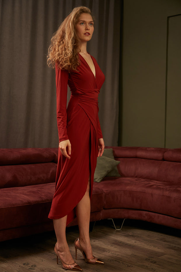 Wrap Midi dress with front Slit in Saffron colour - jqwholesale.com