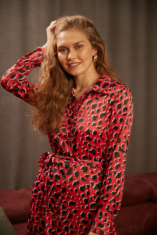Wrap Maxi Shirt Dress in Red Leopard Print - jqwholesale.com