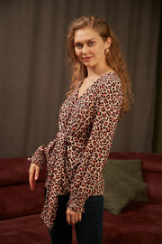 Wrap over Top in Leopard Print - jqwholesale.com