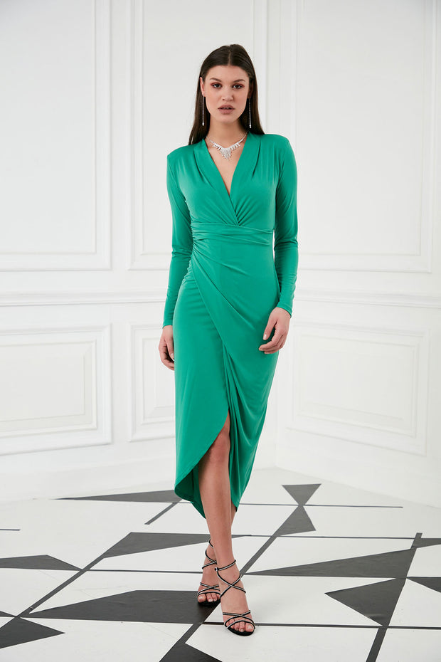 Green Maxi Dress with Front split - jqwholesale.com