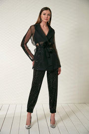 See through jacket with Sequin in Black - jqwholesale.com