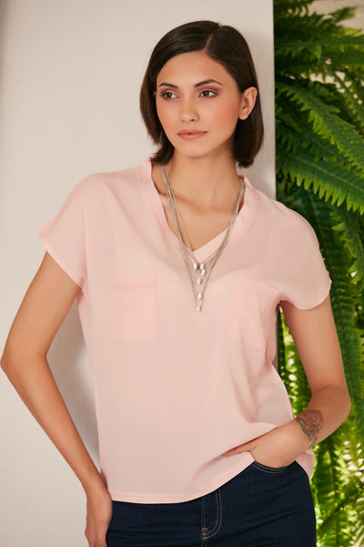 Oversize Summer Top/T-shirt with Pockets in Pink - jqwholesale.com