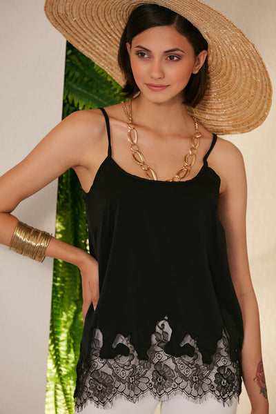 Black Cami top with lace hem - jqwholesale.com