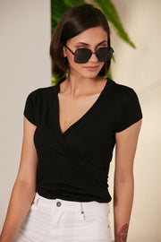 Cross Over Summer Top/T-shirt in Black colour - jqwholesale.com
