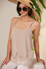 Beige Cami top with lace hem - jqwholesale.com