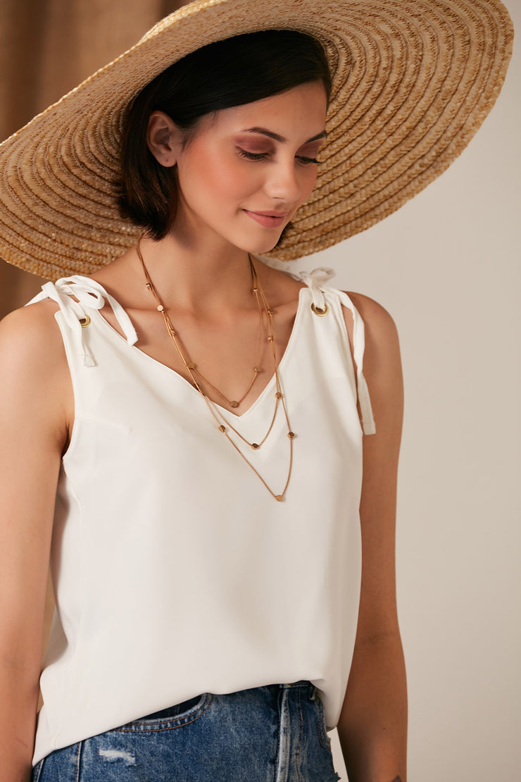 Summer White Cami Top with Adjustable Shoulders - jqwholesale.com
