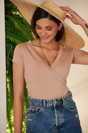 Cross Over Summer Top/T-shirt in Beige colour - jqwholesale.com