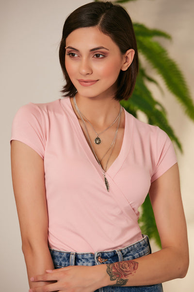 Wrap Summer Top/T-shirt in Pink colour - jqwholesale.com