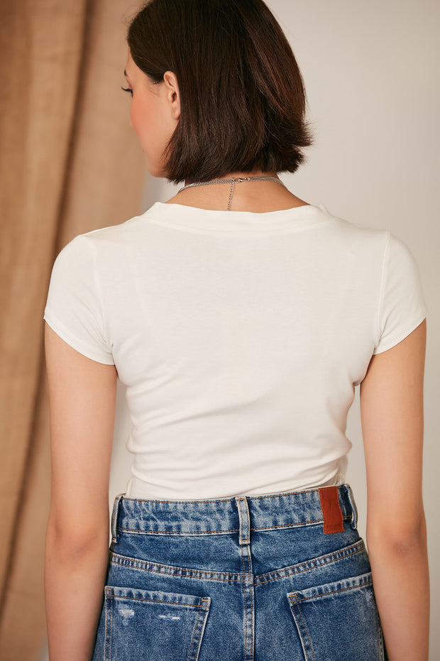 White Summer Top/T-shirt - jqwholesale.com
