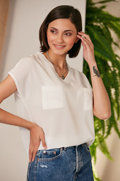 Oversize Summer White Top/T-shirt with Pockets - jqwholesale.com