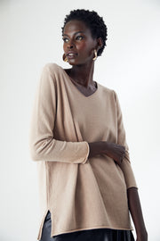 Oversize Long Sleeve Knitwear Top in Camel colour - jqwholesale.com