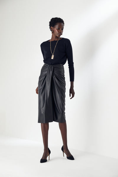 Draped Black Leather Midi Skirt - jqwholesale.com