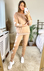 Loungewear Co Ord Set in Camel with Stars - jqwholesale.com