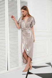 Wrap Maxi Dress with front slit in Cappuccino - jqwholesale.com