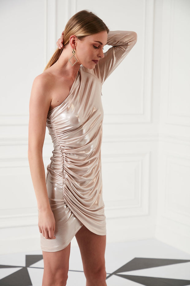 One Shoulder Draped Mini Dress - jqwholesale.com