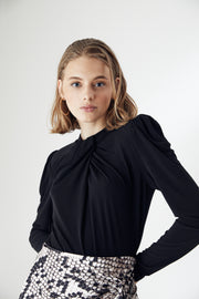 Draped High neck Long Sleeve Black Top - jqwholesale.com