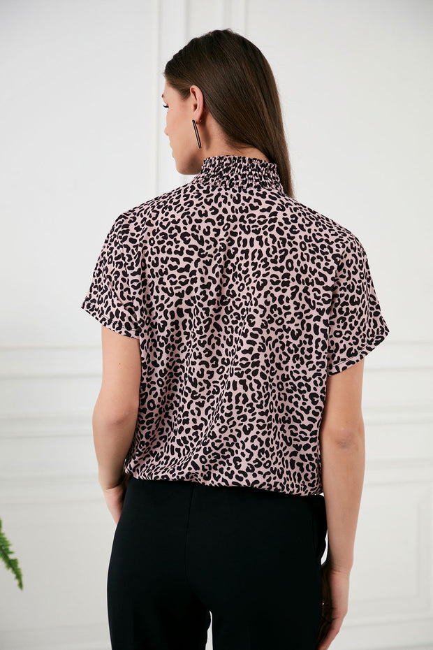 High neck Leopard print Top in Pink - jqwholesale.com