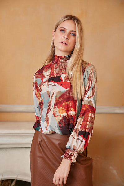 High Neck Casual Long Sleeve Top in Geometrical Print - jqwholesale.com