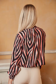 High Neck Casual Long Sleeve Top in Coral Zebra Print - jqwholesale.com