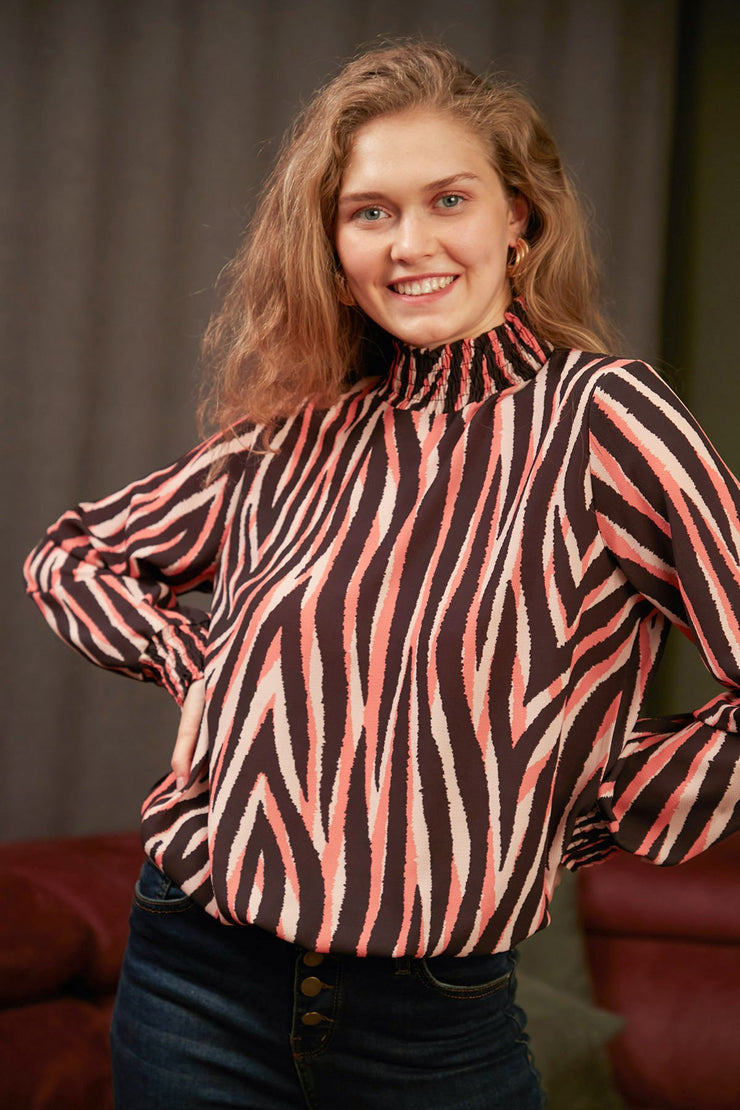 High Neck Casual Long Sleeve Top in Purple Zebra Print - jqwholesale.com