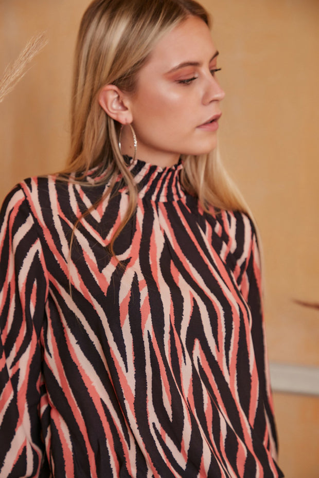 High Neck Casual Long Sleeve Top in Coral Zebra Print