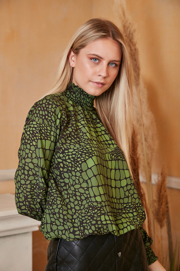 High Neck Casual Long Sleeve Top in Green Animal Print