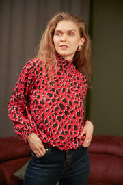 High Neck Casual Long Sleeve Top in Purple Leopard Print - jqwholesale.com