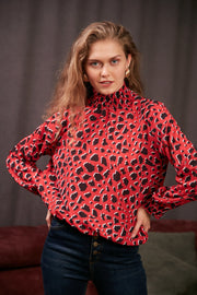 High Neck Casual Long Sleeve Top in Red Leopard Print