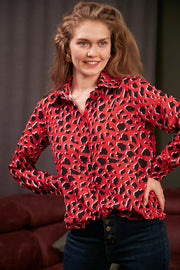 Oversize Top/Shirt in Red Leopard print - jqwholesale.com