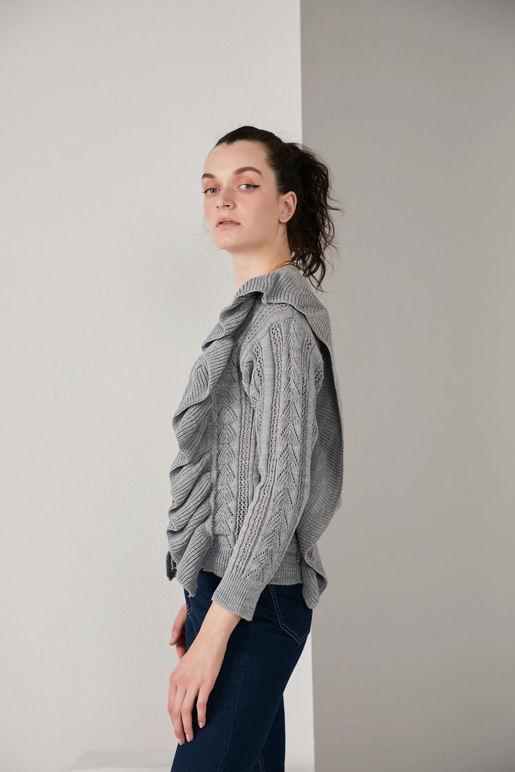 Grey Knitted Cardigan with Frills - jqwholesale.com