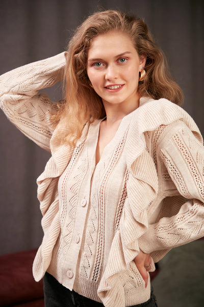 Beige Knitted Cardigan with Frills - jqwholesale.com