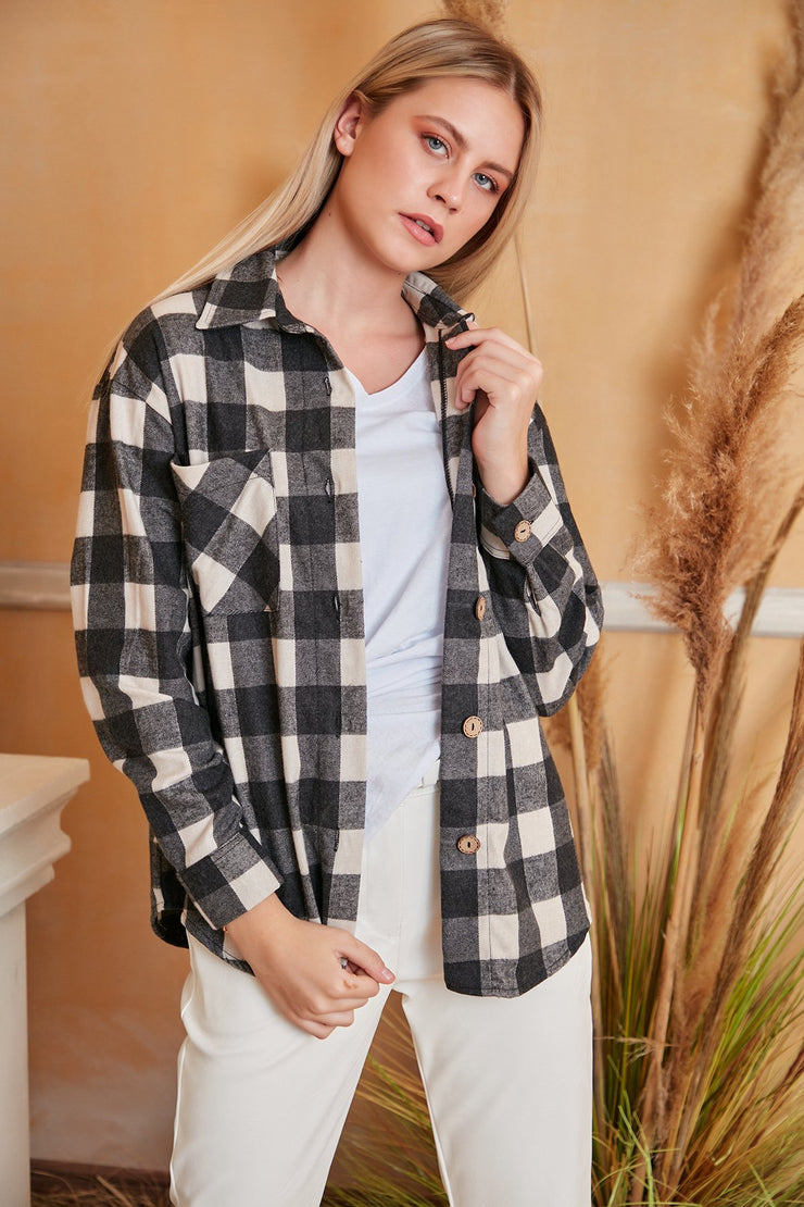 Oversized Green Checked Shirt/Shaket - jqwholesale.com