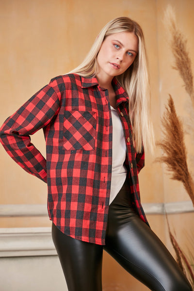 Oversized Red Checked Shirt/Shaket - jqwholesale.com