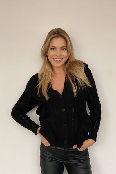 Black Knitted Cardigan with Frills - jqwholesale.com