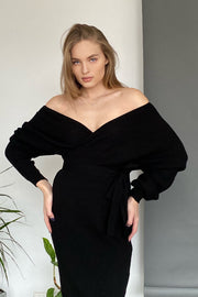 Off Shouders Knitted Wrap Midi Dress in Black - jqwholesale.com