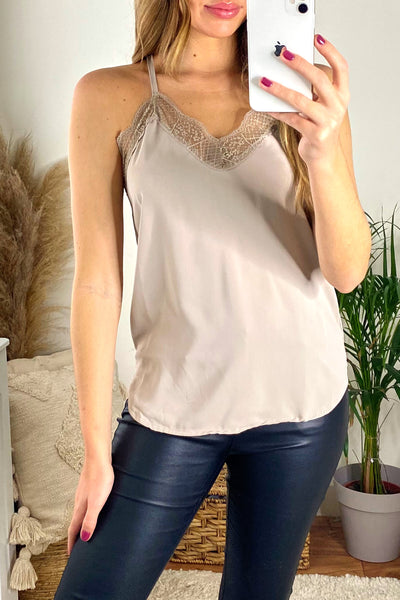Beige Cami Top with Lace - jqwholesale.com