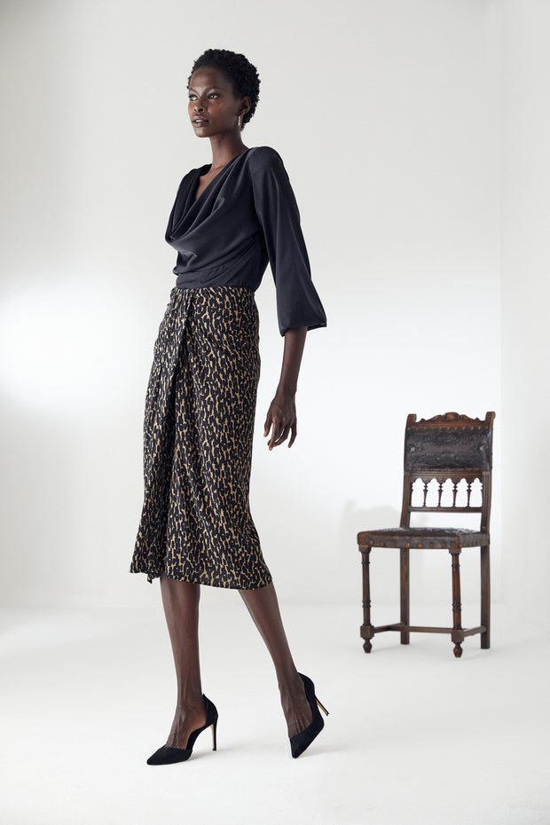 Draped Midi Skirt in Leopard Print - jqwholesale.com