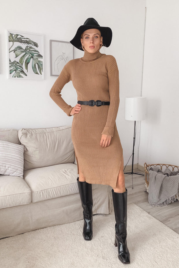High neck knitted Midi dress with side slits - jqwholesale.com
