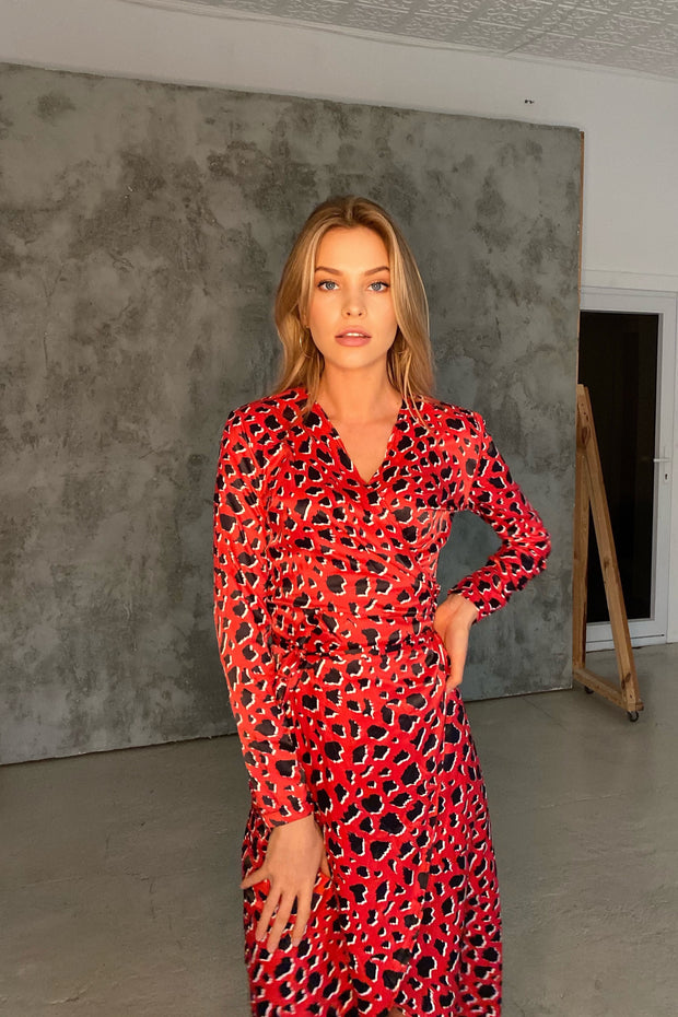 Wrap Midi Dress in Red Leopard Print - jqwholesale.com