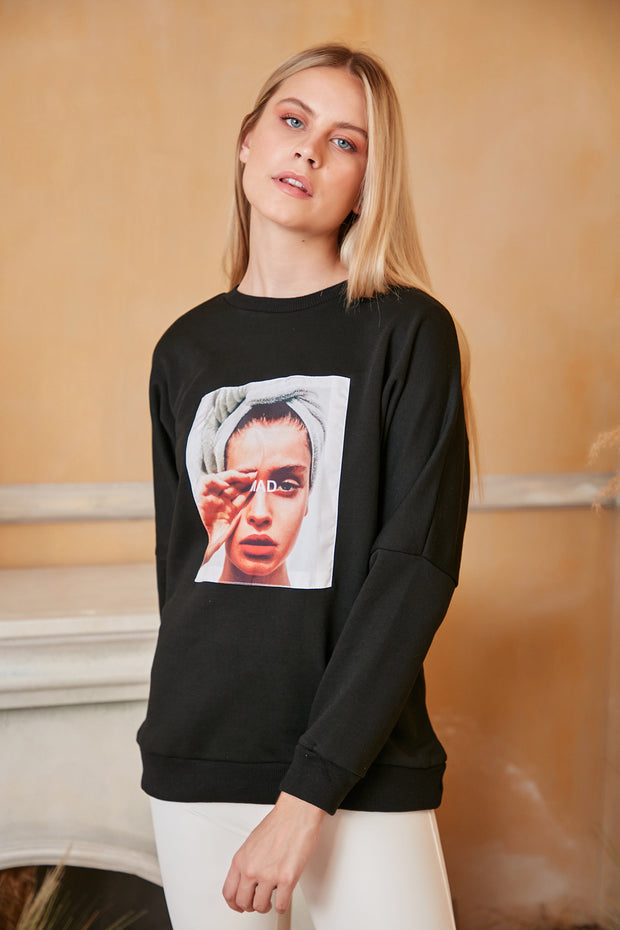 """Mad"" print Oversize Sweatshirt / Top in Black colour - jqwholesale.com"