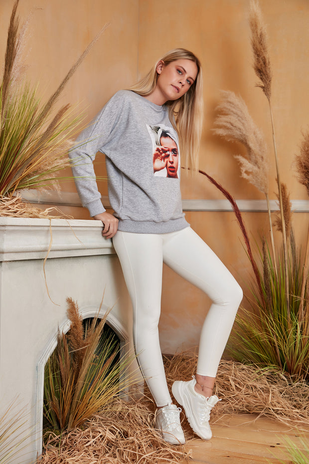 """Mad"" print Oversize Sweatshirt / Top in Grey colour - jqwholesale.com"