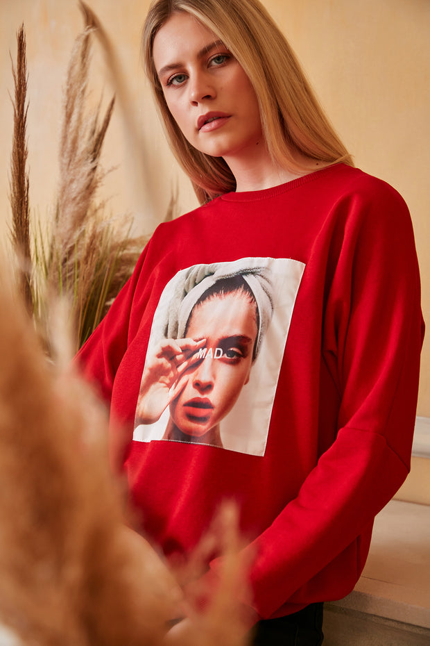 """Mad"" print Oversize Sweatshirt / Top in Red colour"