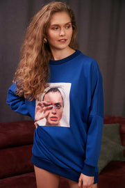 """Mad"" print Oversize Sweatshirt / Top in Sax colour - jqwholesale.com"