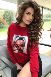 """Mad"" print Oversize Sweatshirt / Top in Red colour - jqwholesale.com"