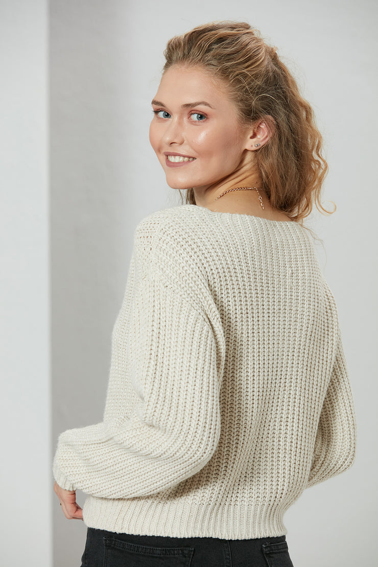 Beige Knitted Crop Jumper - jqwholesale.com