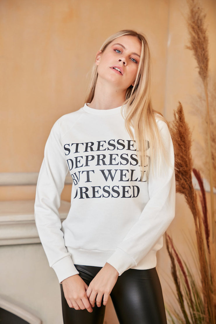 White Oversized Sweatshirt with Print - jqwholesale.com