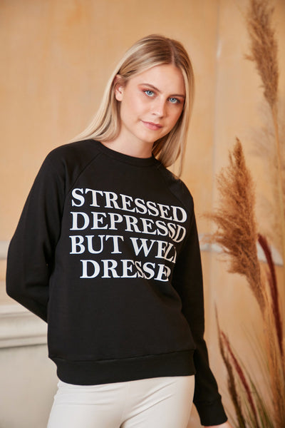 Black Oversized Sweatshirt with Print - jqwholesale.com