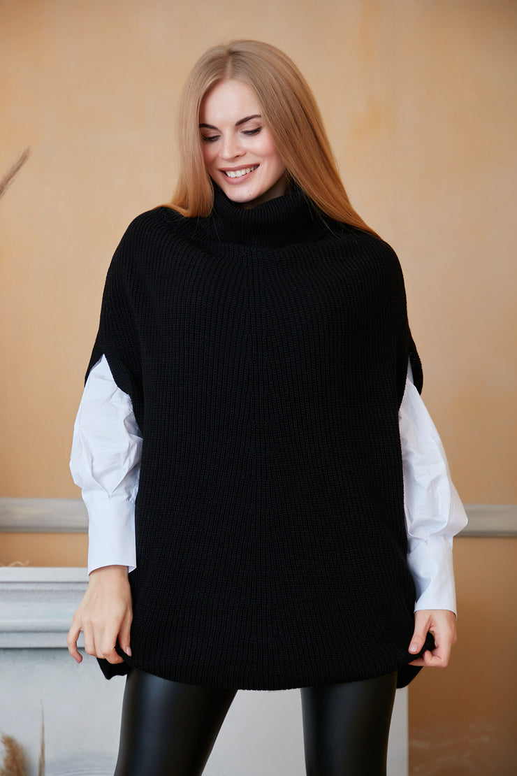 High Neck Knitted Poncho in Black colour - jqwholesale.com