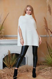 High Neck Knitted Poncho in Ecru colour - jqwholesale.com